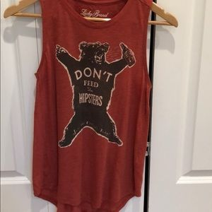 Lucky brand don't feed the hipsters tank!